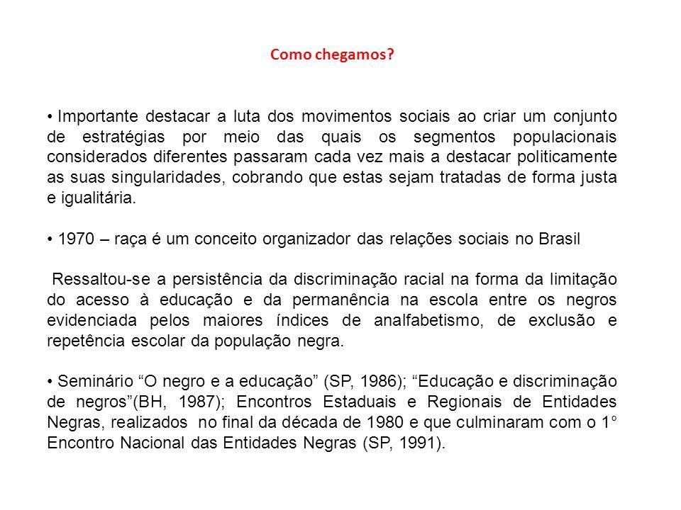 Como chegamos? Importante destacar a luta dos movimentos sociais ao criar um conjunto de estratégias por meio das quais os segmentos populacionais con
