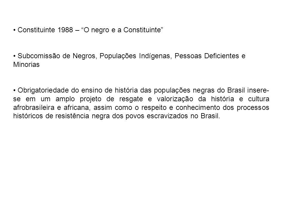 Constituinte 1988 – O negro e a Constituinte Subcomissão de Negros, Populações Indígenas, Pessoas Deficientes e Minorias Obrigatoriedade do ensino de