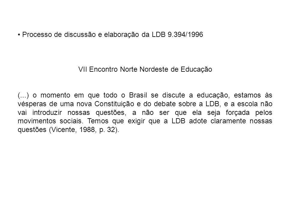 Processo de discussão e elaboração da LDB 9.394/1996 VII Encontro Norte Nordeste de Educação (...) o momento em que todo o Brasil se discute a educaçã