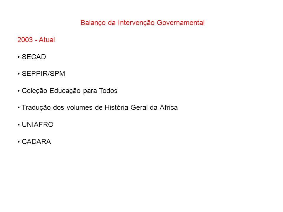 Balanço da Intervenção Governamental 2003 - Atual SECAD SEPPIR/SPM Coleção Educação para Todos Tradução dos volumes de História Geral da África UNIAFR