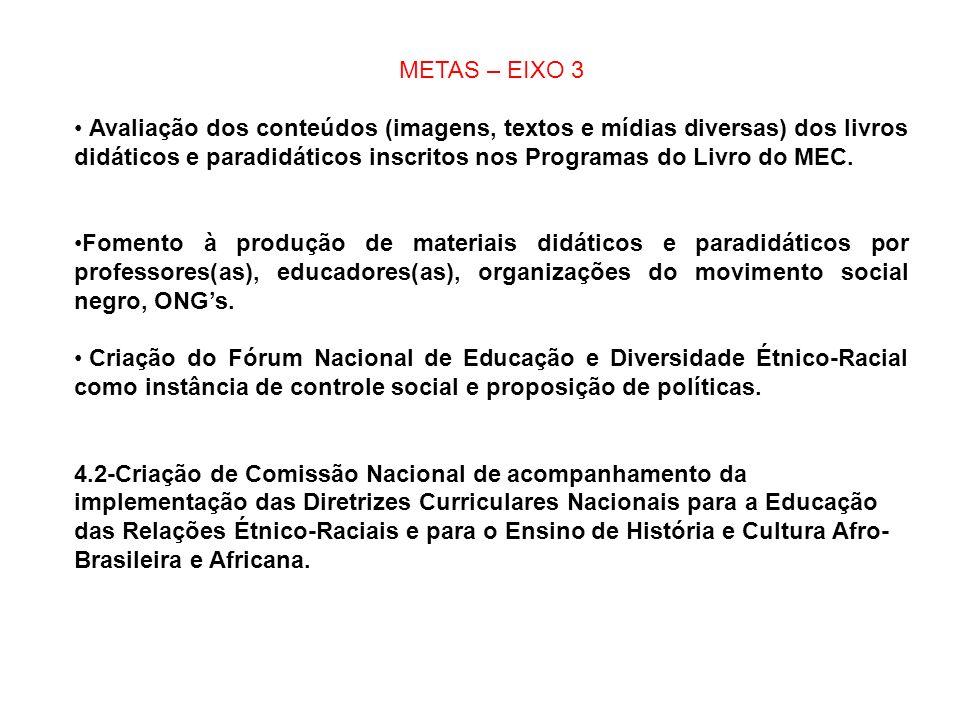 METAS – EIXO 3 Avaliação dos conteúdos (imagens, textos e mídias diversas) dos livros didáticos e paradidáticos inscritos nos Programas do Livro do ME