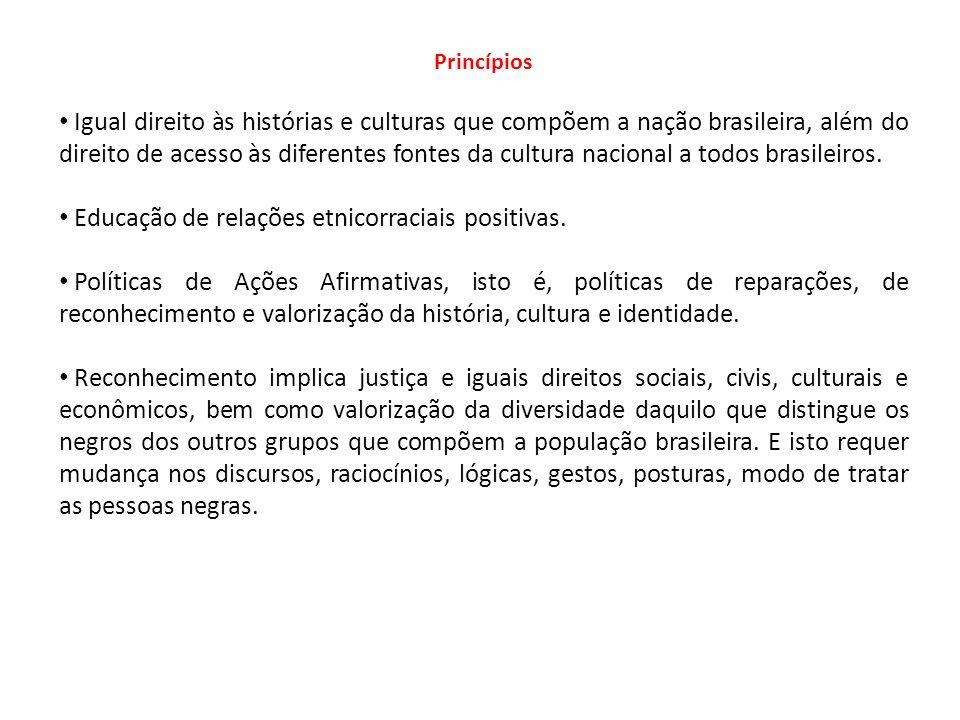 Princípios Igual direito às histórias e culturas que compõem a nação brasileira, além do direito de acesso às diferentes fontes da cultura nacional a