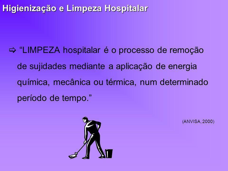 Higienização e Limpeza Hospitalar LIMPEZA hospitalar é o processo de remoção de sujidades mediante a aplicação de energia química, mecânica ou térmica