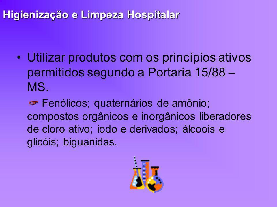 Higienização e Limpeza Hospitalar Utilizar produtos com os princípios ativos permitidos segundo a Portaria 15/88 – MS. Fenólicos; quaternários de amôn