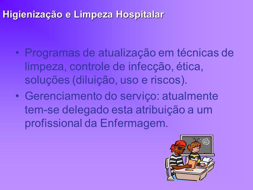 Higienização e Limpeza Hospitalar Programas de atualização em técnicas de limpeza, controle de infecção, ética, soluções (diluição, uso e riscos). Ger