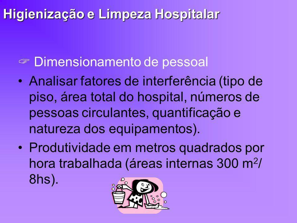 Higienização e Limpeza Hospitalar Dimensionamento de pessoal Analisar fatores de interferência (tipo de piso, área total do hospital, números de pesso