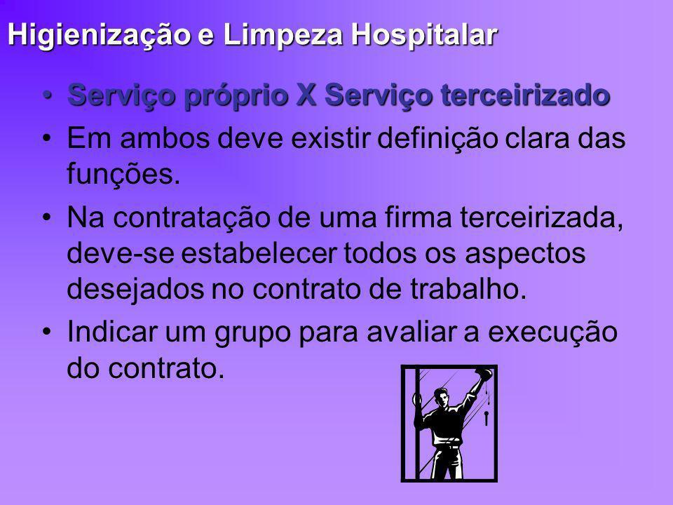Higienização e Limpeza Hospitalar Serviço próprio X Serviço terceirizadoServiço próprio X Serviço terceirizado Em ambos deve existir definição clara d