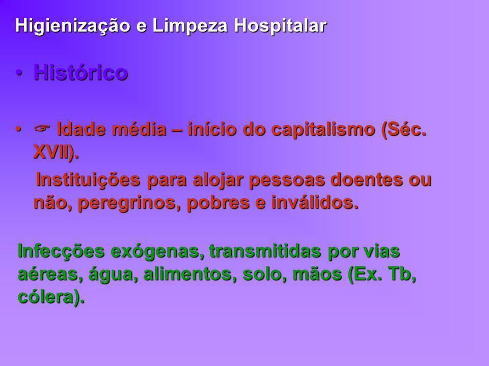 Higienização e Limpeza Hospitalar HistóricoHistórico Idade média – início do capitalismo (Séc. XVII). Idade média – início do capitalismo (Séc. XVII).