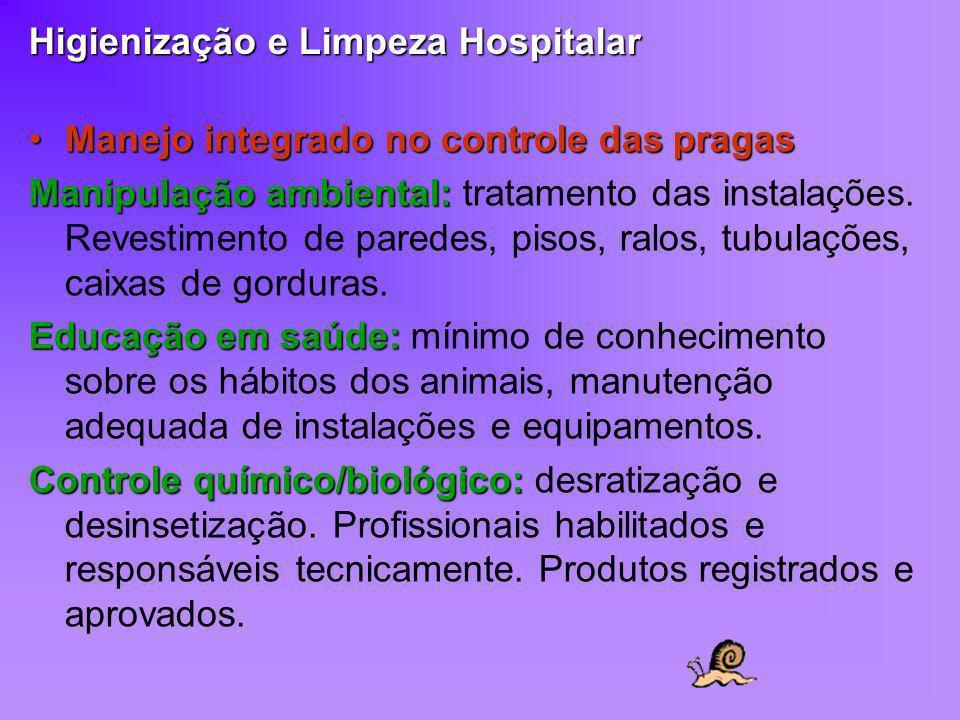 Higienização e Limpeza Hospitalar Manejo integrado no controle das pragasManejo integrado no controle das pragas Manipulação ambiental: Manipulação am