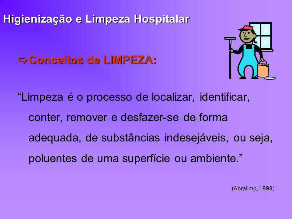 Higienização e Limpeza Hospitalar Conceitos de LIMPEZA: Conceitos de LIMPEZA: Limpeza é o processo de localizar, identificar, conter, remover e desfaz