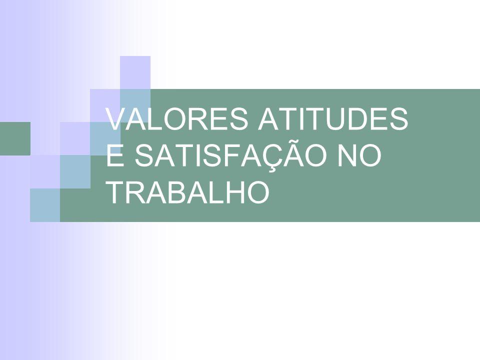 VALORES ATITUDES E SATISFAÇÃO NO TRABALHO