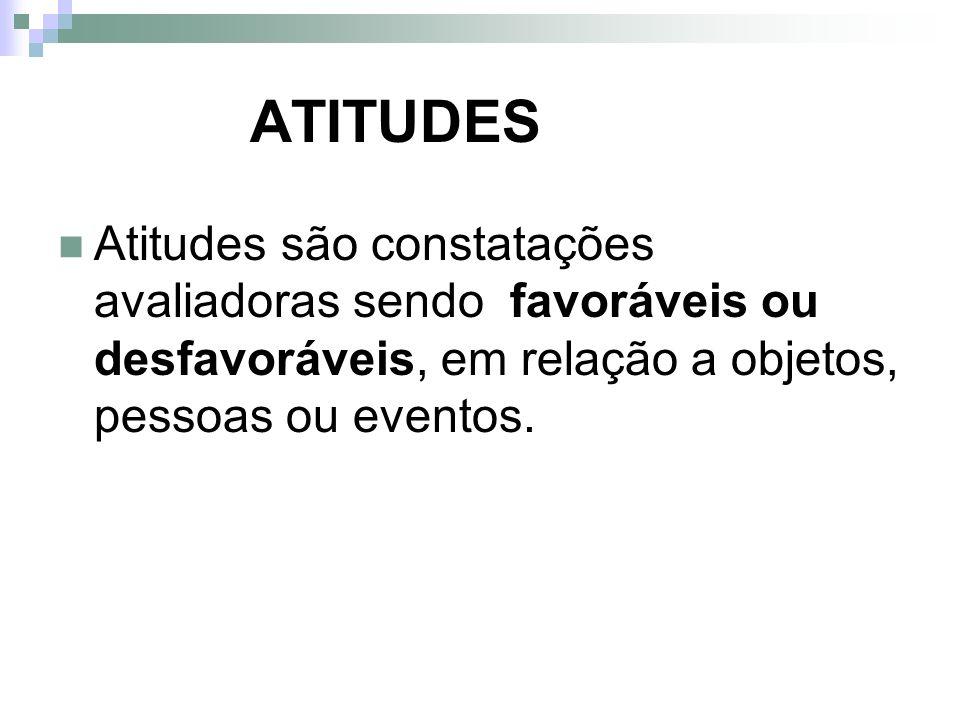 ATITUDES Atitudes são constatações avaliadoras sendo favoráveis ou desfavoráveis, em relação a objetos, pessoas ou eventos.
