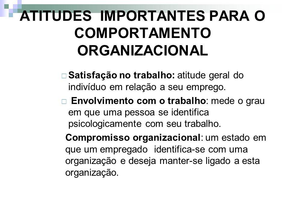ATITUDES IMPORTANTES PARA O COMPORTAMENTO ORGANIZACIONAL Satisfação no trabalho: atitude geral do indivíduo em relação a seu emprego. Envolvimento com