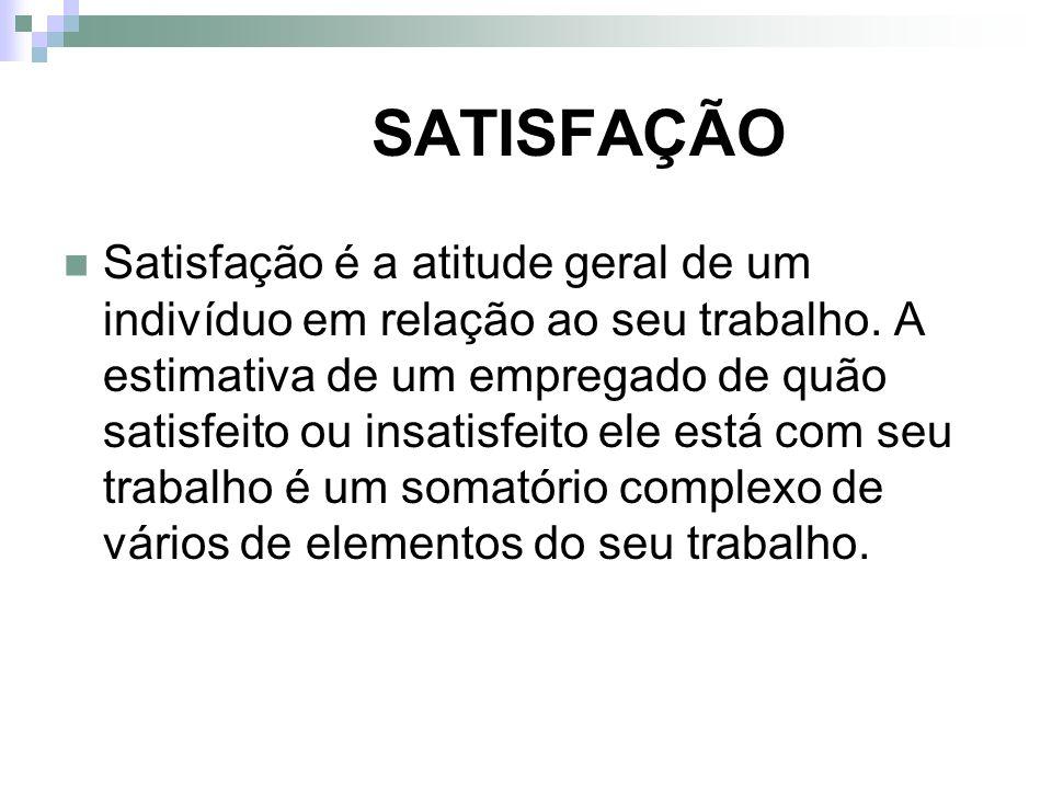 SATISFAÇÃO Satisfação é a atitude geral de um indivíduo em relação ao seu trabalho. A estimativa de um empregado de quão satisfeito ou insatisfeito el