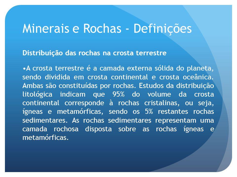 Minerais e Rochas - Definições Distribuição das rochas na crosta terrestre A crosta terrestre é a camada externa sólida do planeta, sendo dividida em