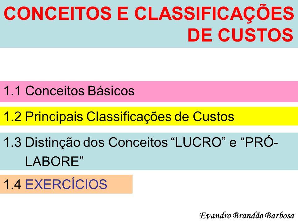 CONCEITOS E CLASSIFICAÇÕES DE CUSTOS 1.1 Conceitos Básicos 1.2 Principais Classificações de Custos 1.3 Distinção dos Conceitos LUCRO e PRÓ- LABORE 1.4