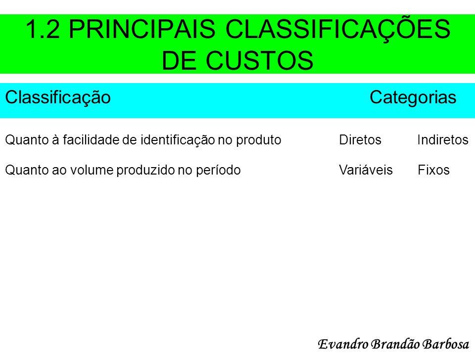 1.2 PRINCIPAIS CLASSIFICAÇÕES DE CUSTOS Classificação Categorias Quanto à facilidade de identificação no produto Diretos Indiretos Quanto ao volume pr
