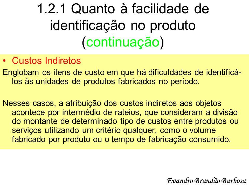 1.2.1 Quanto à facilidade de identificação no produto (continuação) Custos Indiretos Englobam os itens de custo em que há dificuldades de identificá-