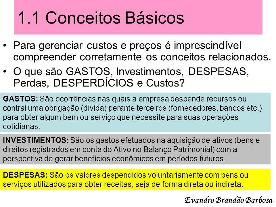 1.1 Conceitos Básicos ( Continuação ) O que são GASTOS, Investimentos, DESPESAS, Perdas, DESPERDÍCIOS e Custos.