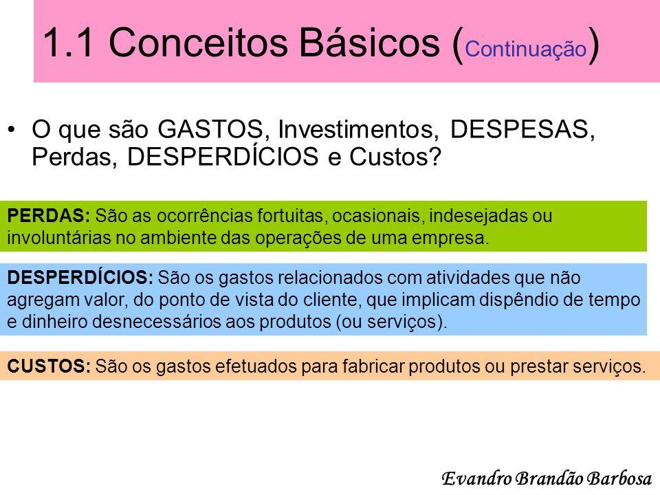 1.1 Conceitos Básicos ( Continuação ) O que são GASTOS, Investimentos, DESPESAS, Perdas, DESPERDÍCIOS e Custos? PERDAS: São as ocorrências fortuitas,