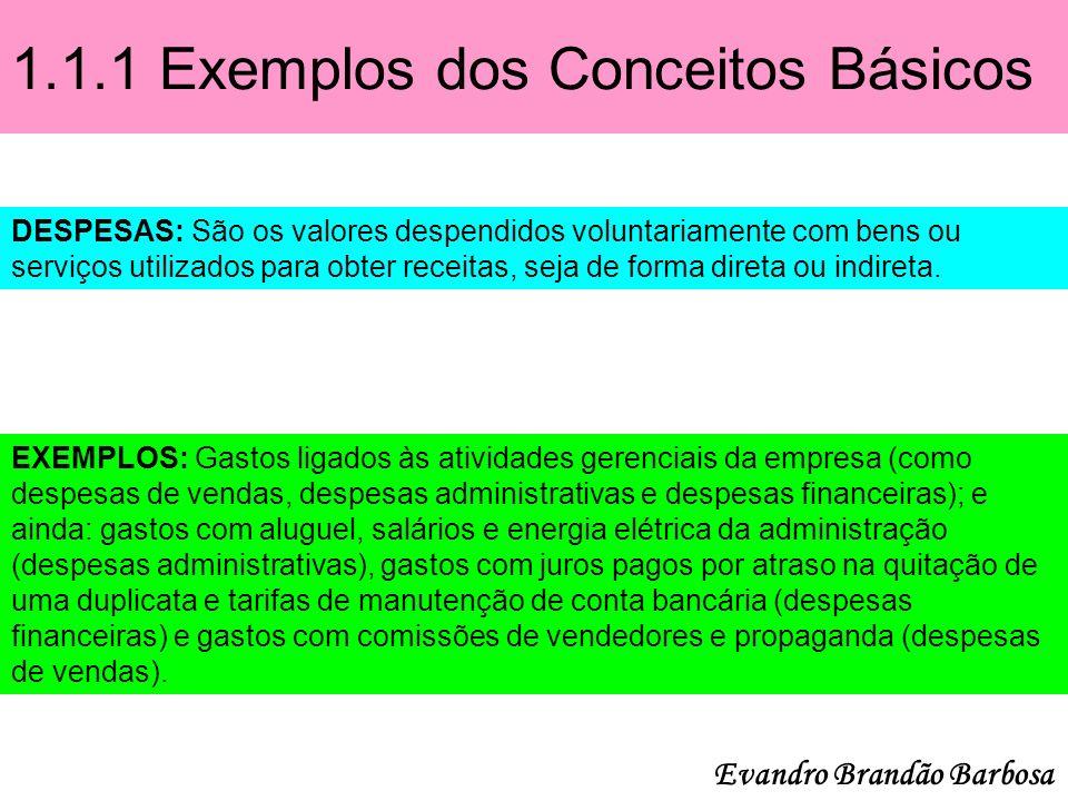 1.1.1 Exemplos dos Conceitos Básicos DESPESAS: São os valores despendidos voluntariamente com bens ou serviços utilizados para obter receitas, seja de