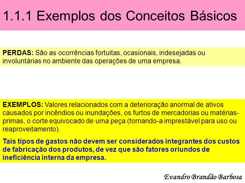 1.1.1 Exemplos dos Conceitos Básicos PERDAS: São as ocorrências fortuitas, ocasionais, indesejadas ou involuntárias no ambiente das operações de uma e