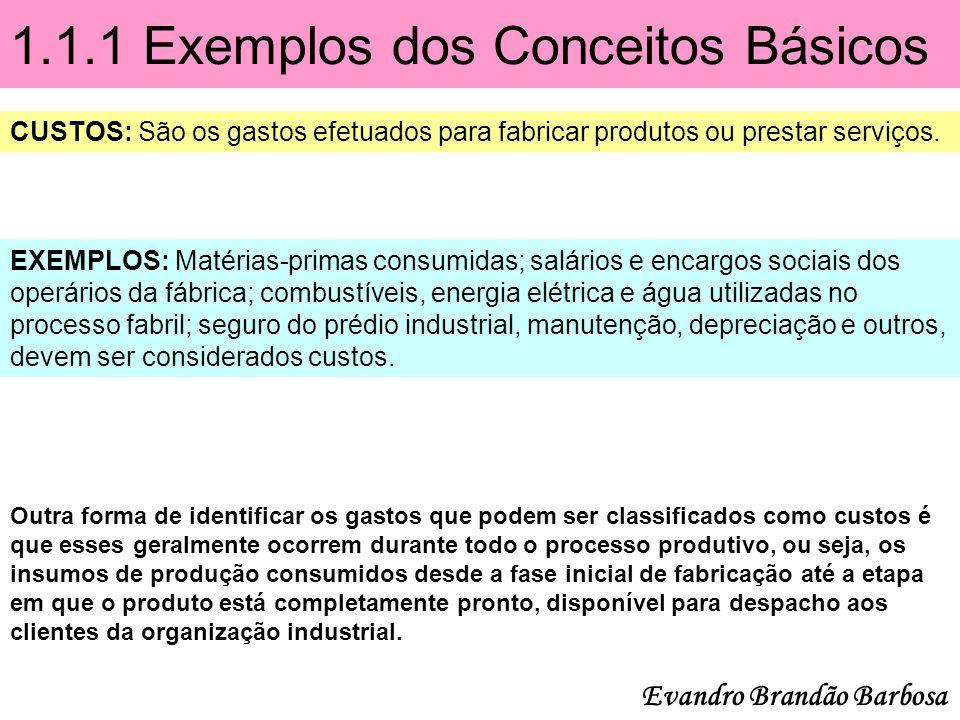 1.1.1 Exemplos dos Conceitos Básicos CUSTOS: São os gastos efetuados para fabricar produtos ou prestar serviços. EXEMPLOS: Matérias-primas consumidas;