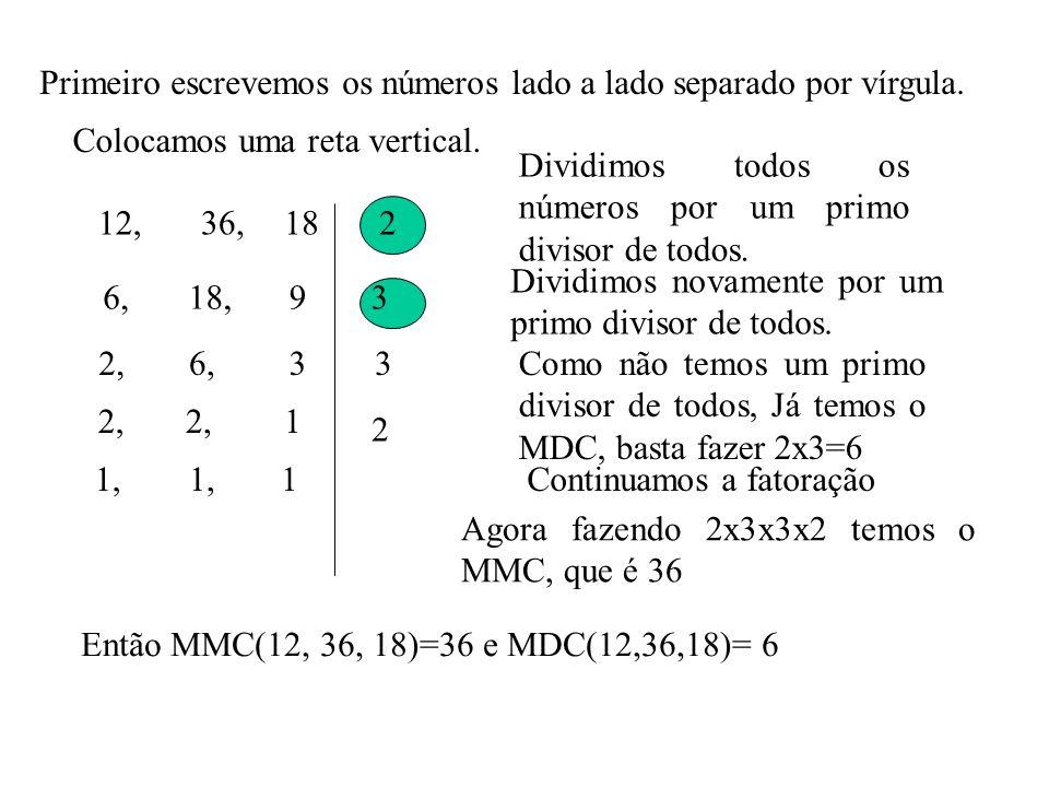 Primeiro escrevemos os números lado a lado separado por vírgula. 12,36,18 Colocamos uma reta vertical. 2 Dividimos todos os números por um primo divis
