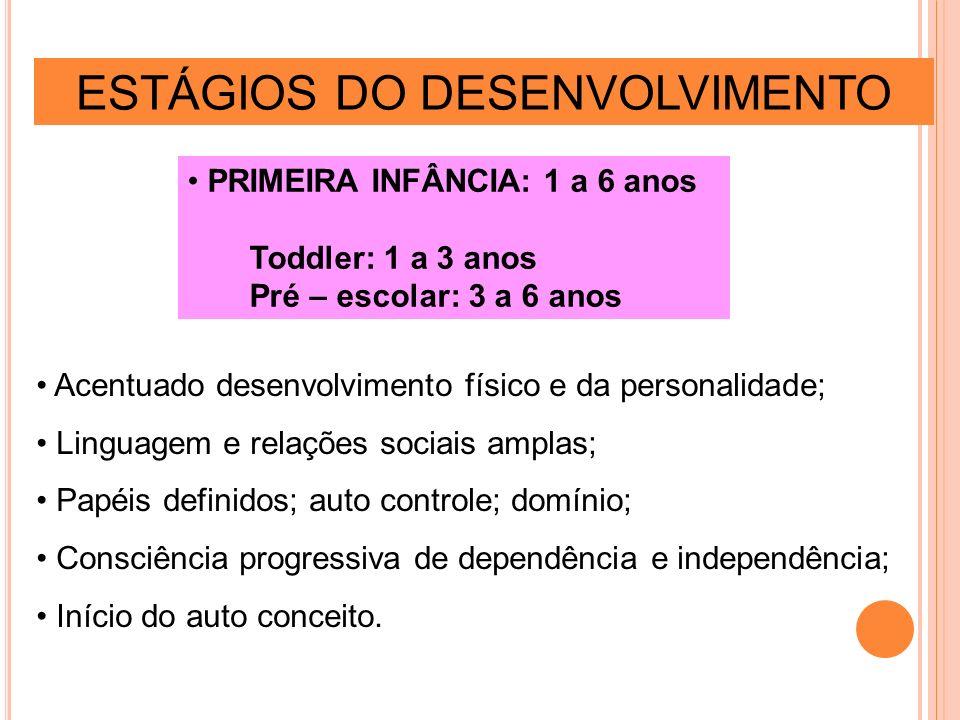 ESTÁGIOS DO DESENVOLVIMENTO PRIMEIRA INFÂNCIA: 1 a 6 anos Toddler: 1 a 3 anos Pré – escolar: 3 a 6 anos Acentuado desenvolvimento físico e da personal