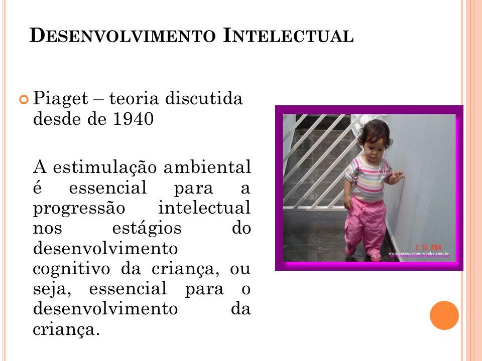 D ESENVOLVIMENTO I NTELECTUAL Piaget – teoria discutida desde de 1940 A estimulação ambiental é essencial para a progressão intelectual nos estágios d