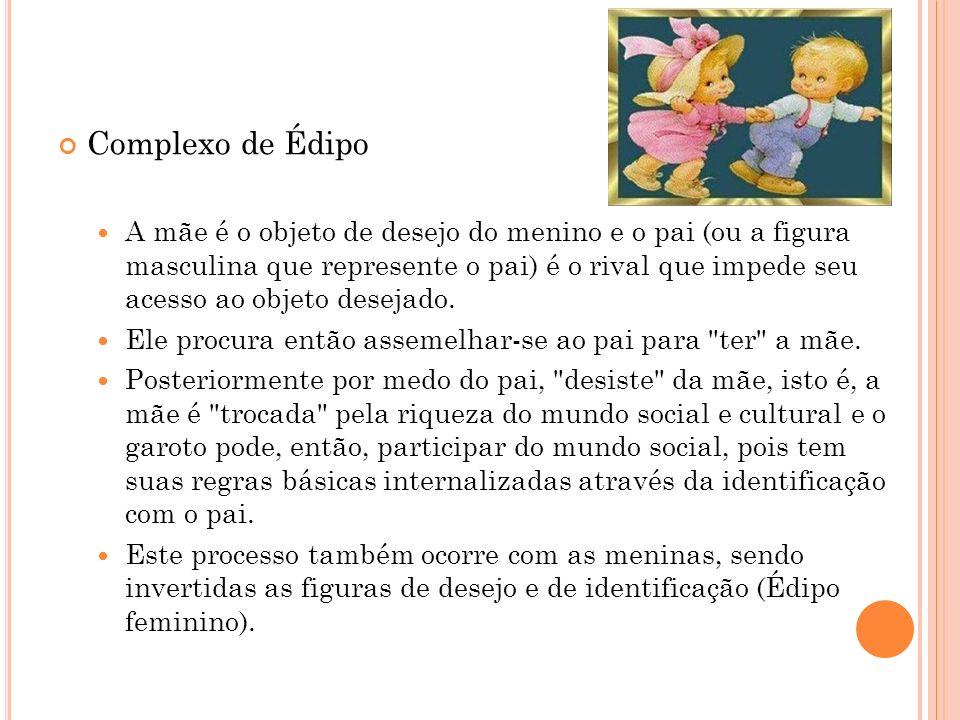 Complexo de Édipo A mãe é o objeto de desejo do menino e o pai (ou a figura masculina que represente o pai) é o rival que impede seu acesso ao objeto
