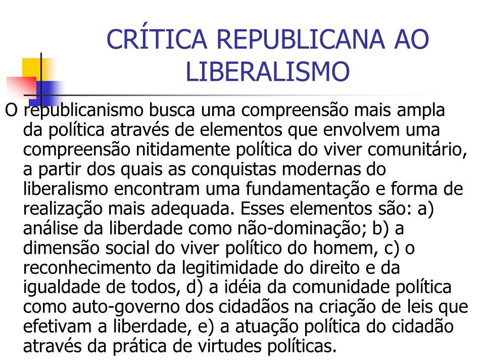 CRÍTICA REPUBLICANA AO LIBERALISMO O republicanismo busca uma compreensão mais ampla da política através de elementos que envolvem uma compreensão nit