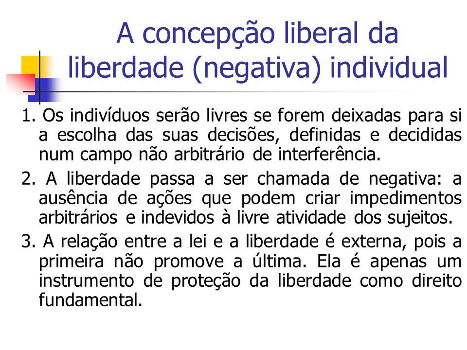 A concepção liberal da liberdade (negativa) individual 1. Os indivíduos serão livres se forem deixadas para si a escolha das suas decisões, definidas