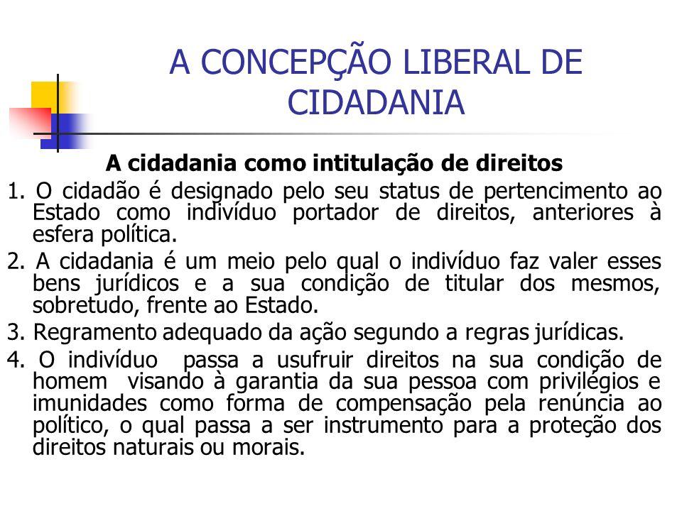 A CONCEPÇÃO LIBERAL DE CIDADANIA A cidadania como intitulação de direitos 1. O cidadão é designado pelo seu status de pertencimento ao Estado como ind