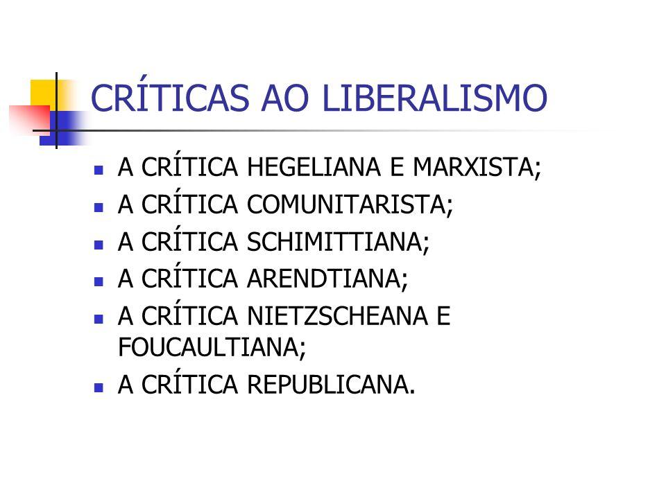 CRÍTICAS AO LIBERALISMO A CRÍTICA HEGELIANA E MARXISTA; A CRÍTICA COMUNITARISTA; A CRÍTICA SCHIMITTIANA; A CRÍTICA ARENDTIANA; A CRÍTICA NIETZSCHEANA