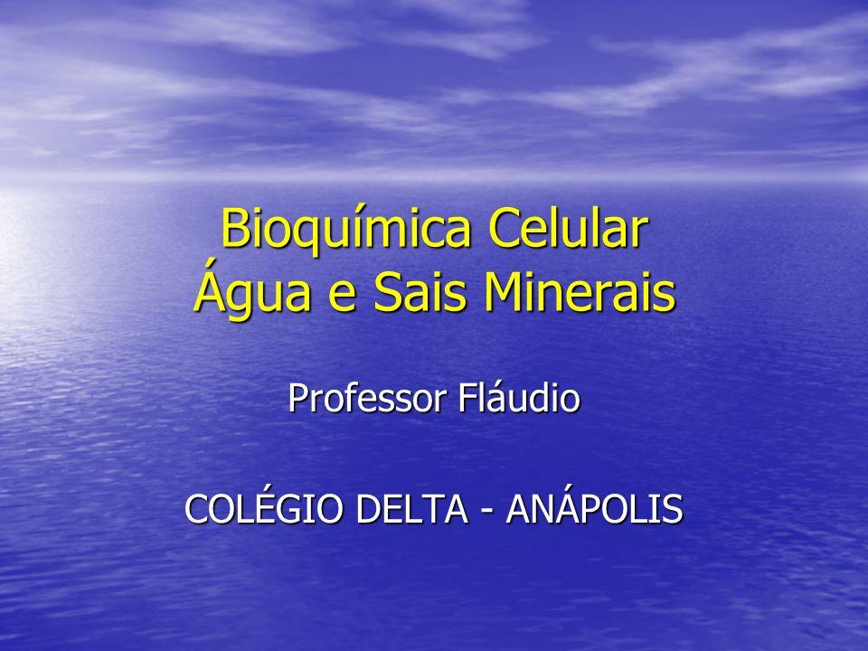 Bioquímica Celular Água e Sais Minerais Professor Fláudio COLÉGIO DELTA - ANÁPOLIS