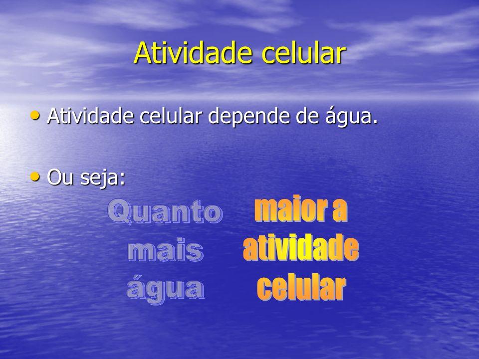 Atividade celular Atividade celular depende de água. Atividade celular depende de água. Ou seja: Ou seja: