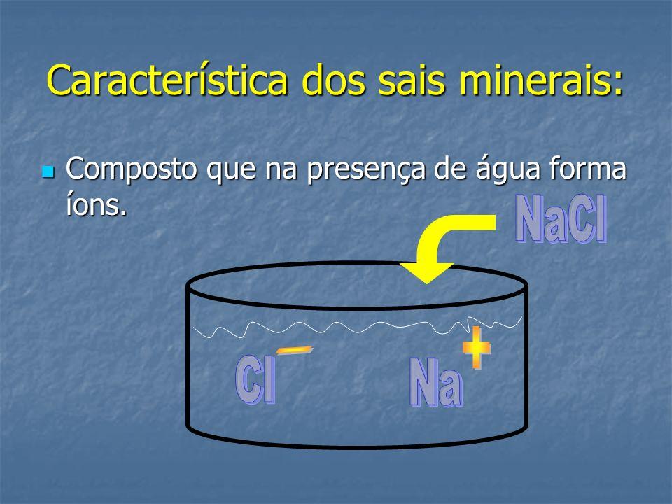 Característica dos sais minerais: Composto que na presença de água forma íons. Composto que na presença de água forma íons.