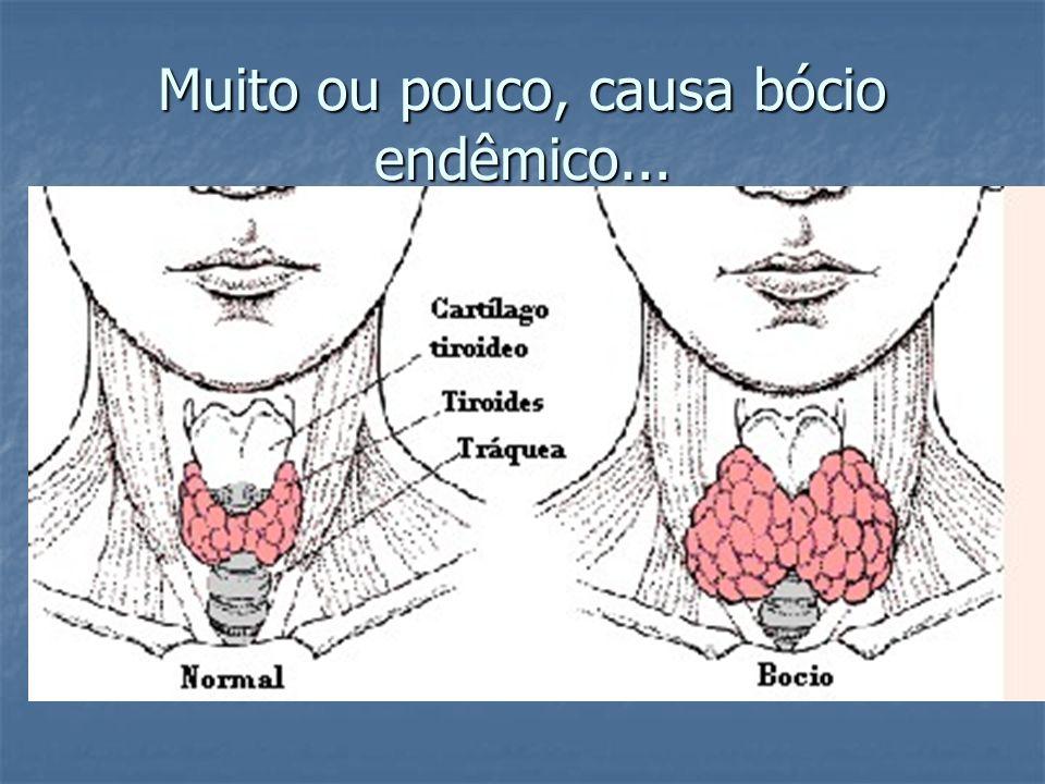 Muito ou pouco, causa bócio endêmico...