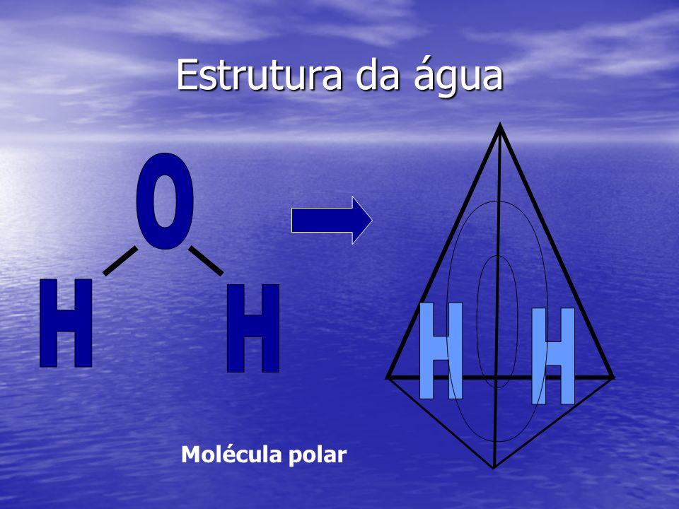 Estrutura da água Molécula polar
