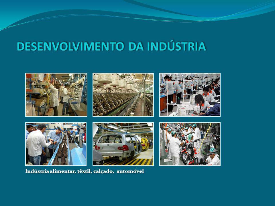 Indústria alimentar, têxtil, calçado, automóvel