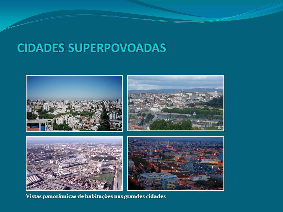 Vistas panorâmicas de habitações nas grandes cidades