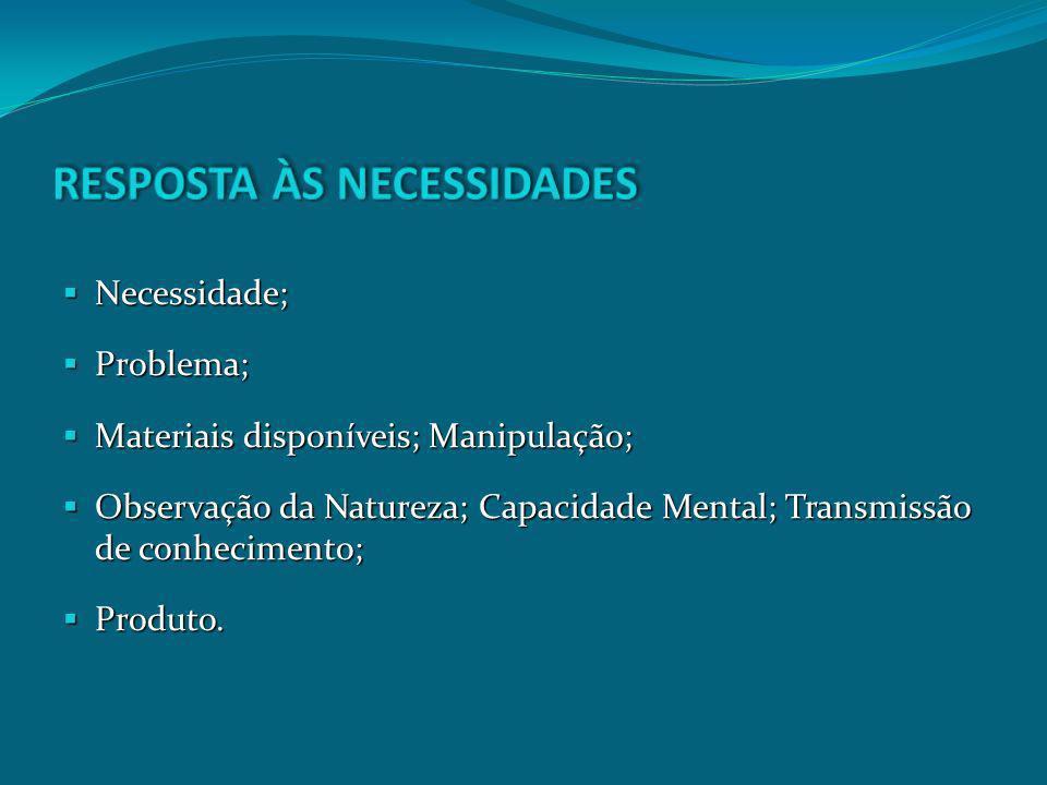 Necessidade; Necessidade; Problema; Problema; Materiais disponíveis; Manipulação; Materiais disponíveis; Manipulação; Observação da Natureza; Capacida