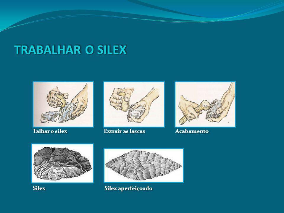 Talhar o silex Extrair as lascas Acabamento Silex Silex aperfeiçoado