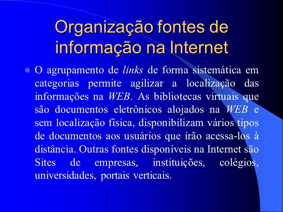 Organização fontes de informação na Internet O agrupamento de links de forma sistemática em categorias permite agilizar a localização das informações