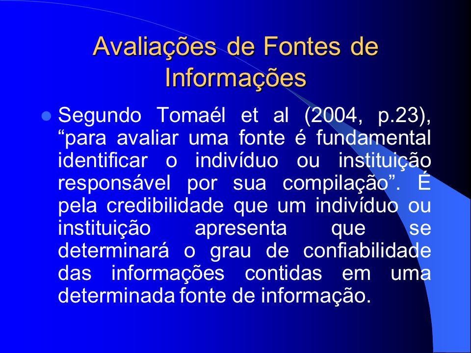 Avaliações de Fontes de Informações Segundo Tomaél et al (2004, p.23), para avaliar uma fonte é fundamental identificar o indivíduo ou instituição res