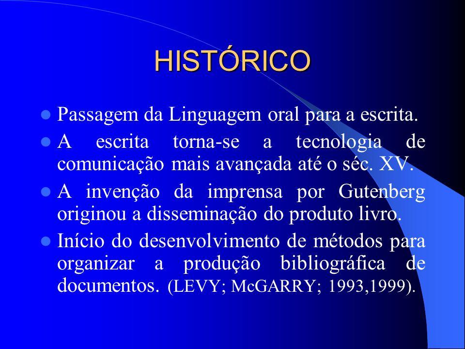 HISTÓRICO Passagem da Linguagem oral para a escrita. A escrita torna-se a tecnologia de comunicação mais avançada até o séc. XV. A invenção da imprens