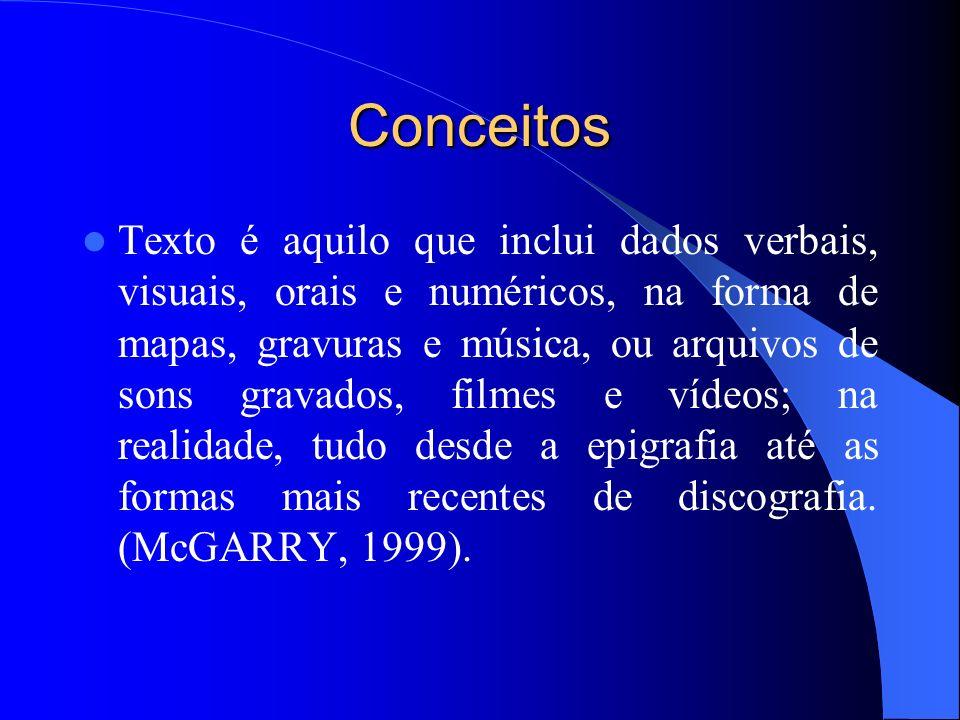 Conceitos Texto é aquilo que inclui dados verbais, visuais, orais e numéricos, na forma de mapas, gravuras e música, ou arquivos de sons gravados, fil