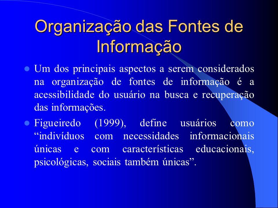 Organização das Fontes de Informação Um dos principais aspectos a serem considerados na organização de fontes de informação é a acessibilidade do usuá