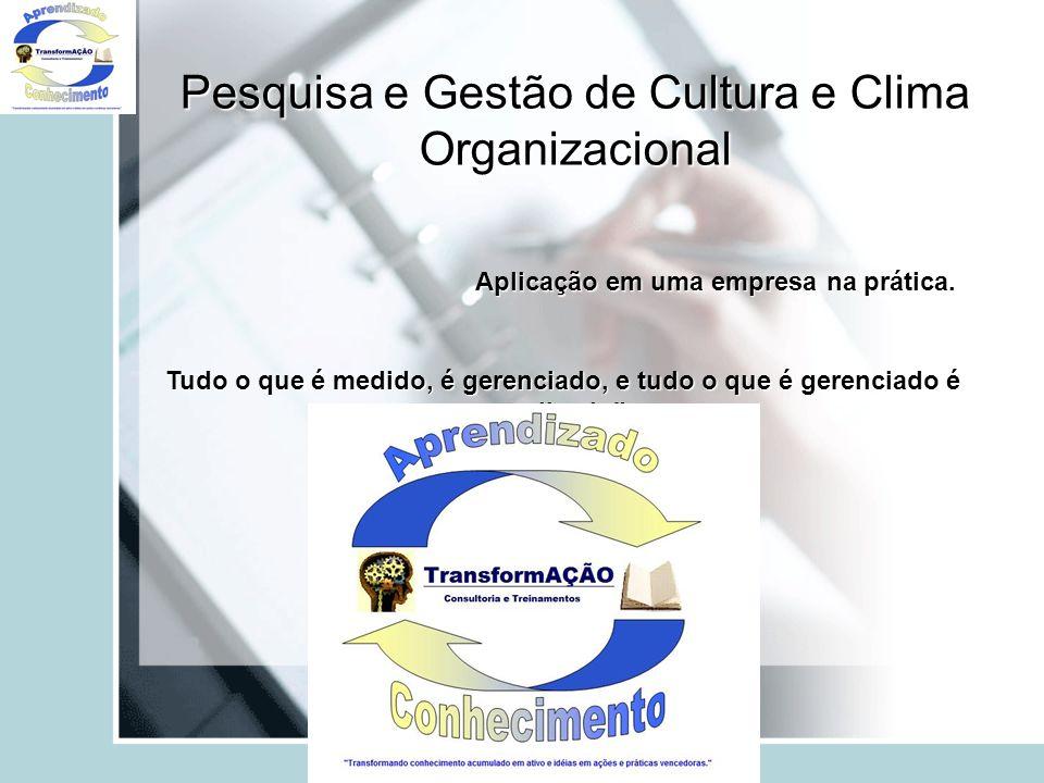 Pesquisa e Gestão de Cultura e Clima Organizacional Aplicação em uma empresa na prática. Tudo o que é medido, é gerenciado, e tudo o que é gerenciado